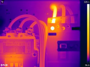 Infrared view of electrical panel