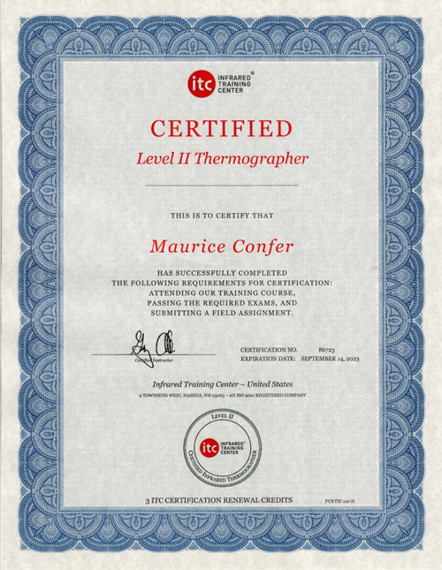Certified Level II Thermographer